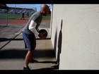 Upper body training with medicine ball, pull ups, and push ups.